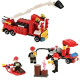 Firefighting Building Set, Newisland 8-in-1 Firemen Building Blocks with Fire Truck and more, 370+pcs Bricks Toys for Kids…