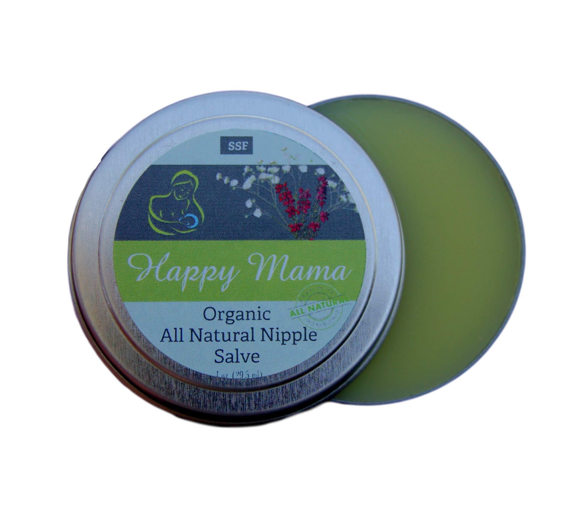 Happy Mama- Moisturizing Super Concentrated Organic Nipple Salve. Lanolin Free, Non GMO calendula nipple cream for breastfeeding mamas, and anyone with dry skin.