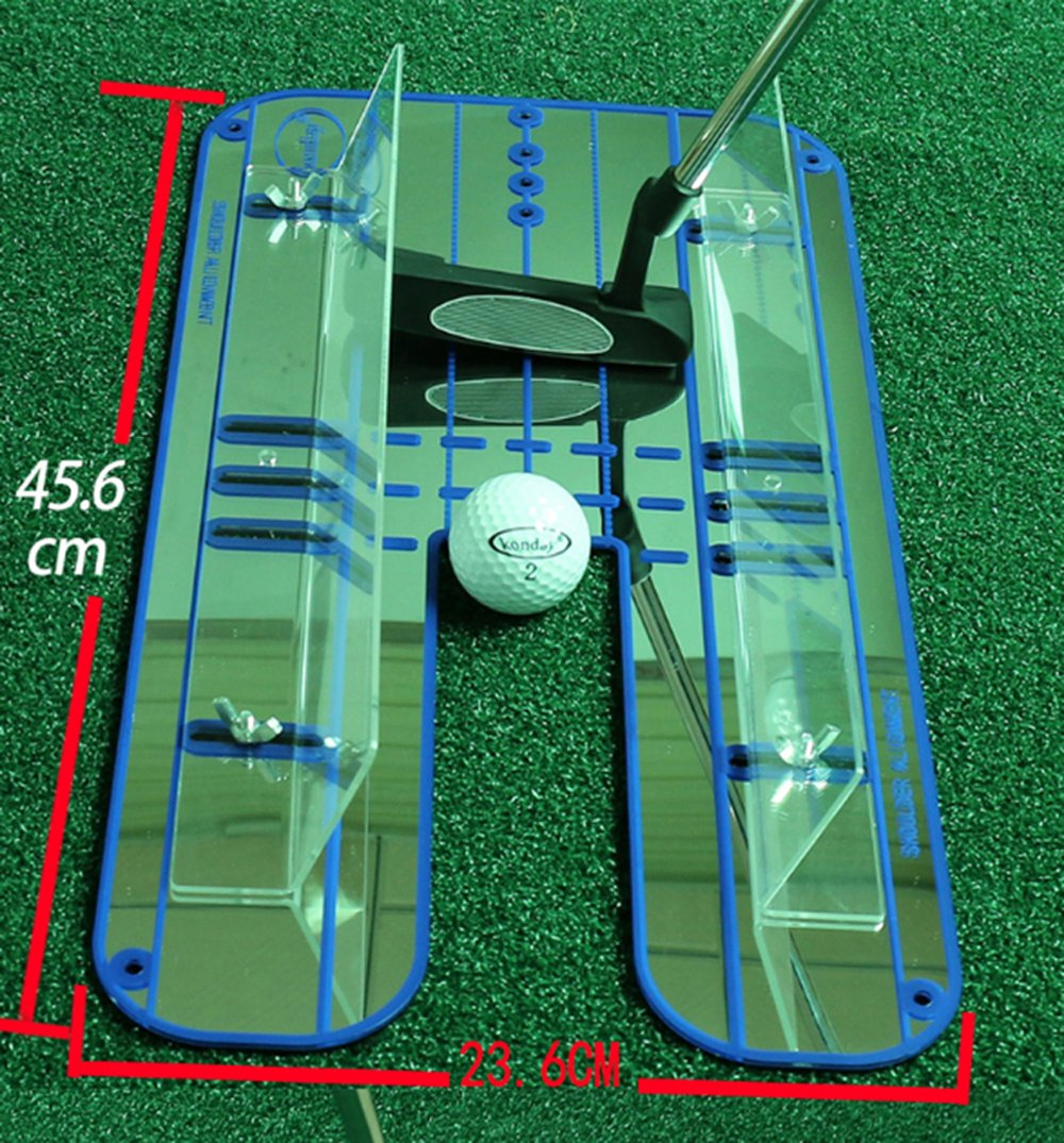 Sumger Golf Putting Mirror with Guid Rail, Alignment Training Aid Putting Trainer Eye Line Golf Practice Mirror 17.95''x9.29'' by Sumger (Image #1)