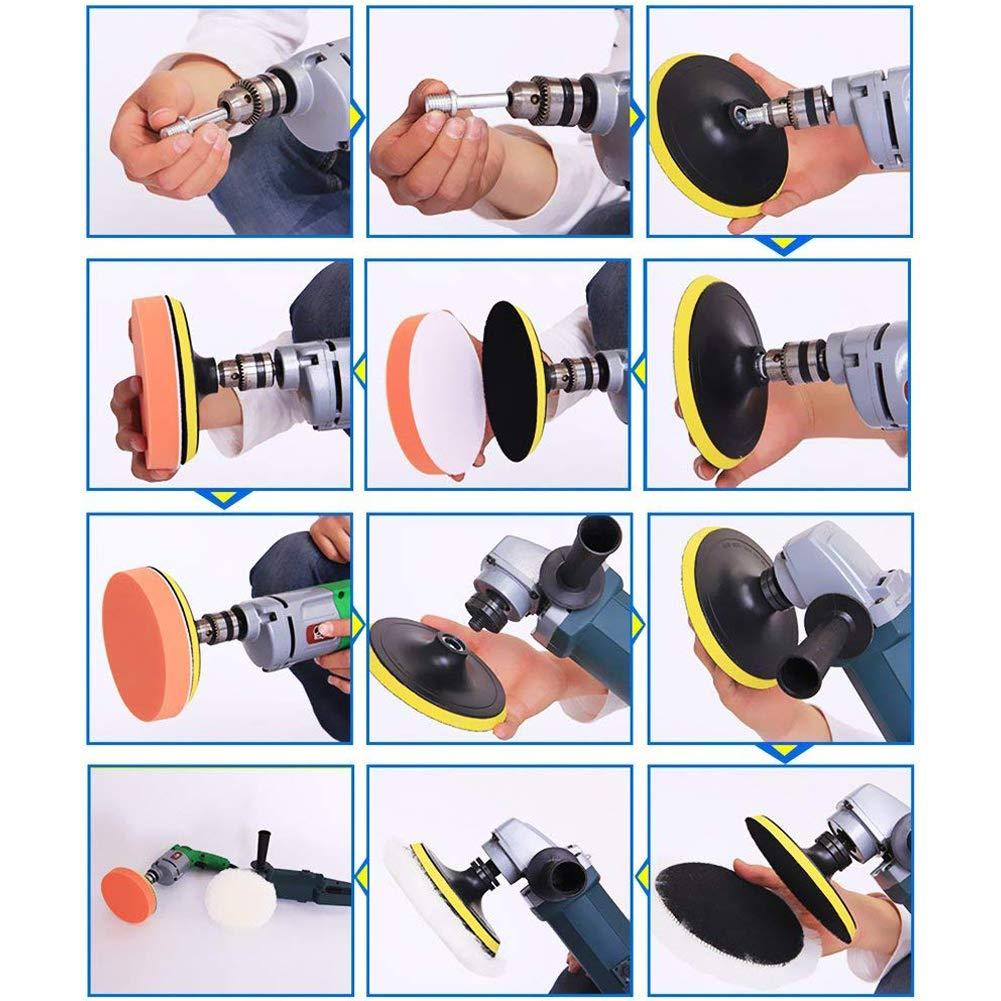 Spugna Multi Taglia Unica JoyFan 22PCS 7,6/cm lucidatura tamponi assorbenti Set ceretta Chiusura Glaze Spugna Drill Adapter Kit