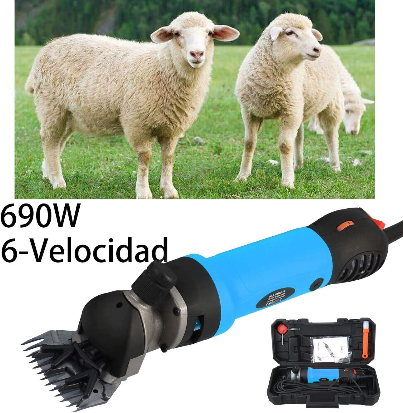 Vinteky 690W Un Set Completo para Esquiladora Eléctrica para Ovejas Fácil y Práctico para Trasquilar Alto Rendimiento, Dando Cuidado a los Animales, 6 Velocidades Ajustables (Azul)