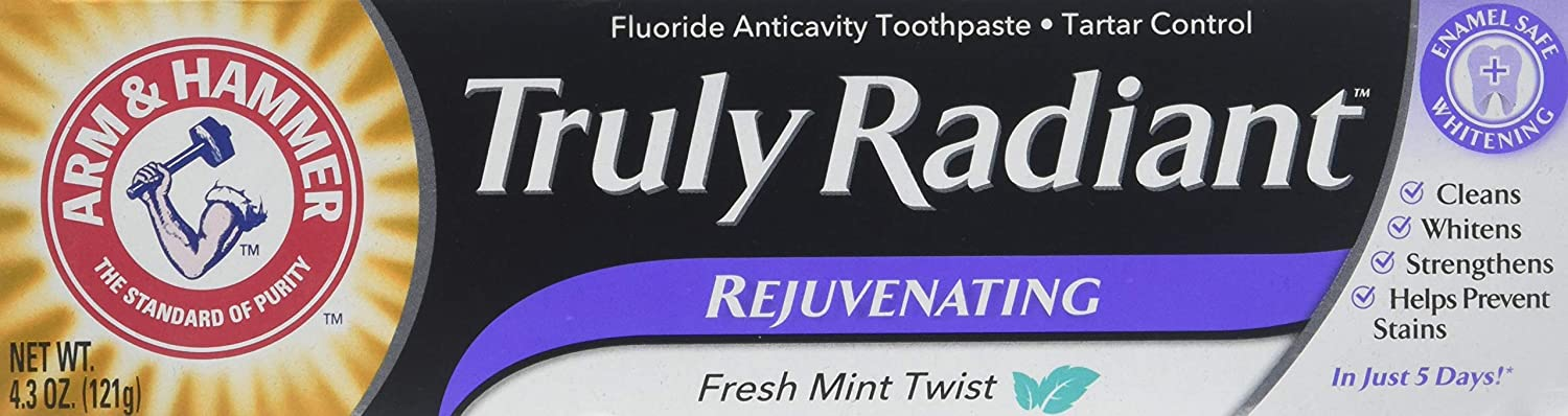 Pack of 3 4.3oz tubes of Truly Radiant Rejuvenating Whitening with a Refreshing Twist Toothpaste by Arm & Hammer by Truly Radiant
