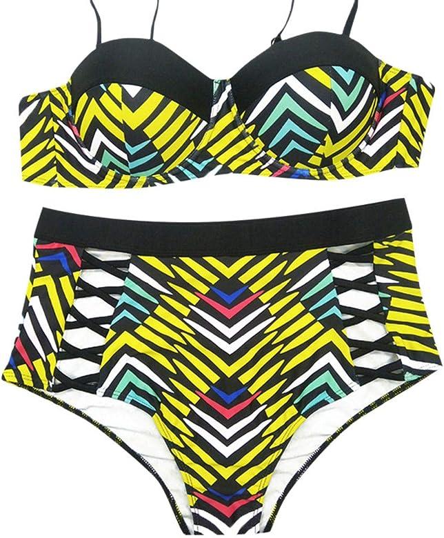 14ce711a8e22 Lurcardo 2019 Mujer Sexy Bikini Set Raya Imprimiendo Halter Push Up ...