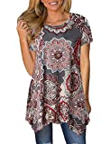 Halife Womens Summer Short Sleeve Floral Print Loose Fit Tunic Tops