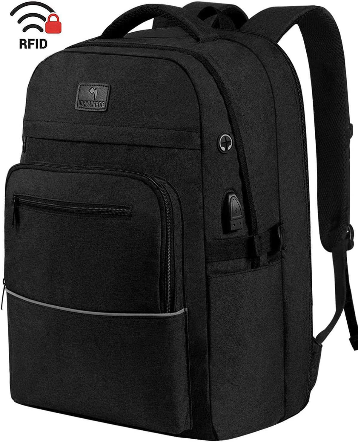 Laptop Backpack,WhiteFang 17.3 Inch Extra Large TSA Friendly Business Travel Laptop Backpack with USB Charging Port, RFID Pockets Water Resistant Big School Backpack for Women & Men