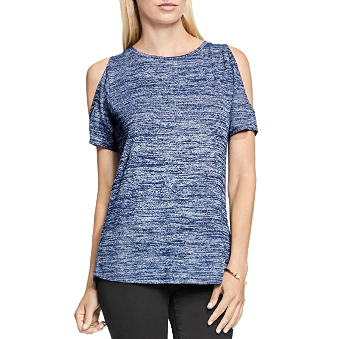 9462cc98bef2a Two by Vince Camuto Womens Heathered Cold Shoulder Casual Top Blue S