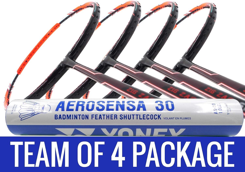Apacs チームパッケージ:1チューブヨネックス AS30 シャトルコック + 4ラケット ジグザグ スピードオレンジ (プライムバージョン) コンパクトフレーム バドミントンラケット