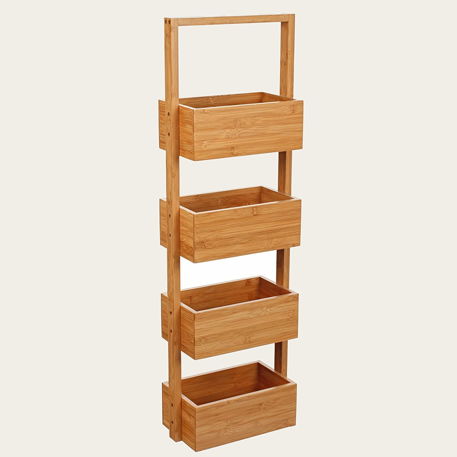 Bamboo shelf unit with four baskets - ideal for bathroom use. Bambou