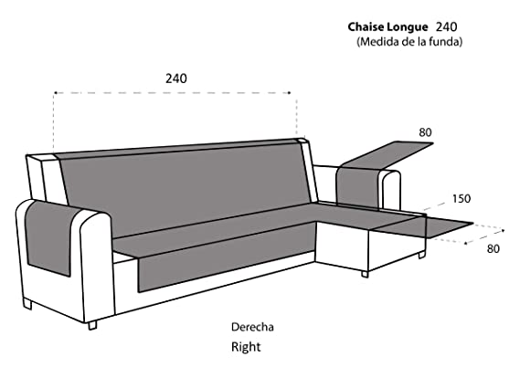 textil-home Funda Cubre Sofá Chaise Longue Malu, Protector para Sofás Acolchado Brazo Derecho. Tamaño -240cm. Color Marrón (Visto DE Frente)