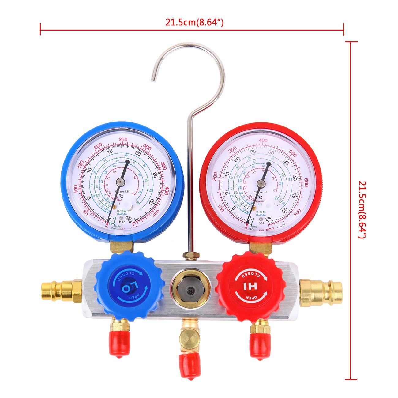 Honhill R134a R22 R410a R404a AC Refrigeration Kit A//C Condizionatore manometro
