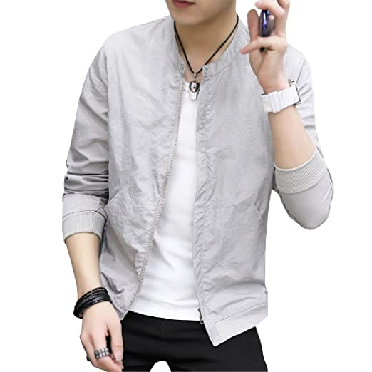 4cd5b1f03edf Comaba Men s Solid Colored Summer Light Weight Plus Size Jackets Outwear  Grey S