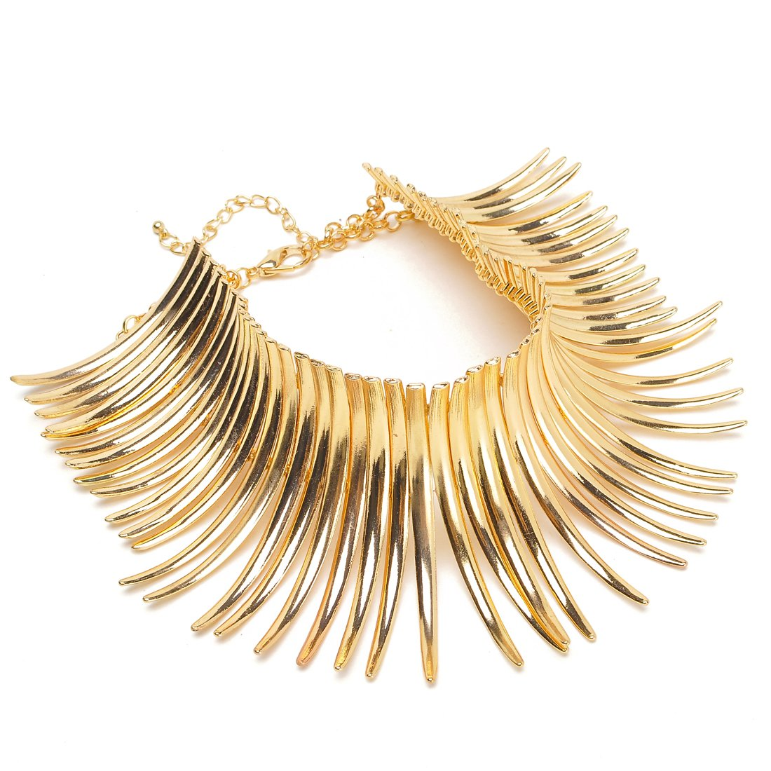 Fashion Sparkling Gold Tone Canine Shape Short Choker Collar Statement Necklace
