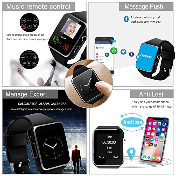 Smartwatch, Impermeable Reloj Inteligente con Sim Tarjeta Camara Whatsapp, Bluetooth Tactil Telefono Smart Watch Sport Fitness Tracker Smartwatches ...