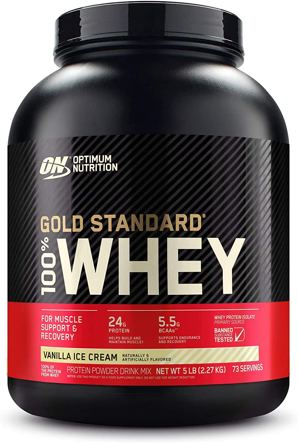 Optimum Nutrition Gold Standard 100% Whey Protein Powder, Vanilla Ice Cream, 5 Pound (Packaging May Vary): Health & Personal Care