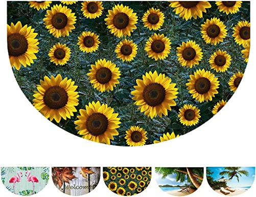 Half Round Door Mat Entrance Rug Indoor Outdoor Welcome Mat, Durable Rubber Doormat Decorative Floor Mats for Entry Home Patio Garden Sunflower