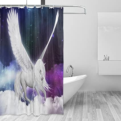 LORVIES Unicorn Pegasus In The Universe Shower Curtain Set Polyester Fabric Water Repellant Bathroom