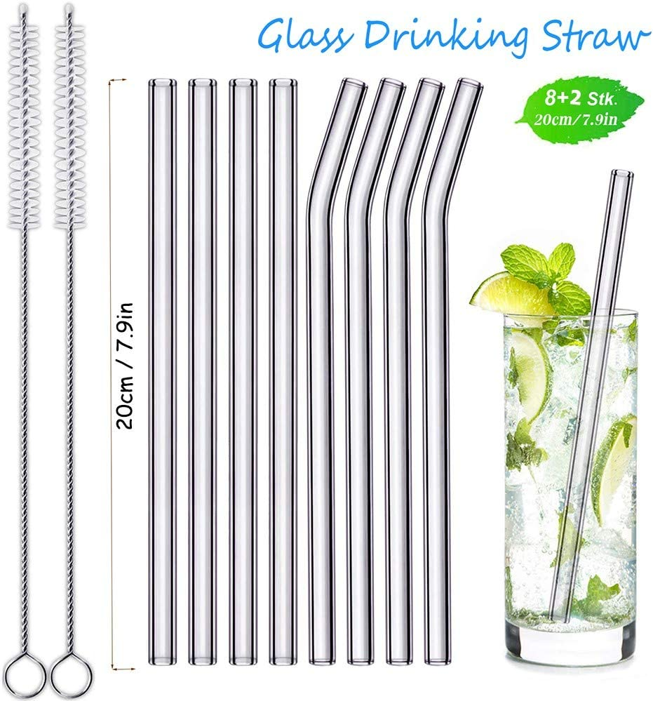 Clear Eco-Friendly VKTECH 7 Reusable Glass Straws 3 Straight 3 Bent Drinking Straws Healthy with 2 Cleaning Brush BPA Free
