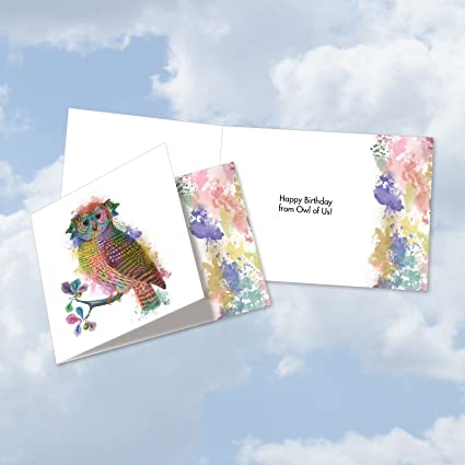 new square top birthday greeting card funky rainbow wildlife owl featuring hipster - Greeting Card Envelope Size