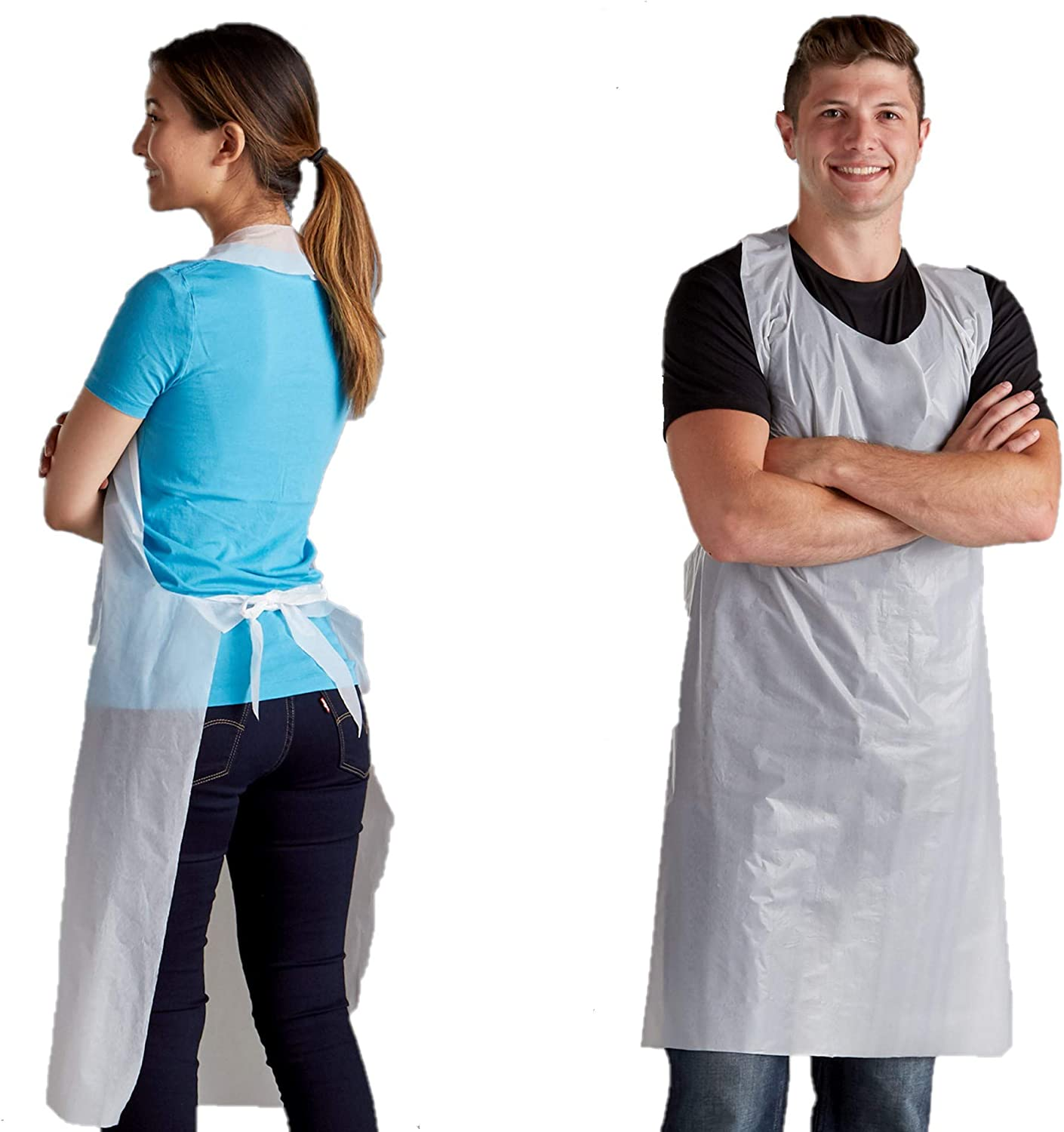 200pc Disposable Adult Plastic Aprons Transparent Hairdresser Kitchen Waterproof