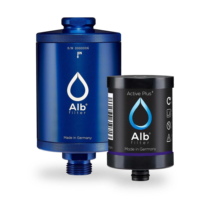 Alb Filter® Active Plus+ Trinwasser-Filter reduziert Bakterien, Keime, Schadstoffe, Schwermetalle, Mikro-Plastik. Made in Germany. Cyan