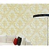 DIY 3D立体 壁紙 ダマスカス 不織布 壁紙 オシャレ壁紙 シール のりなし 防水 ベッドルーム リビングルーム テレビの背景 53cmx10m (オフホワイト(大きな花))
