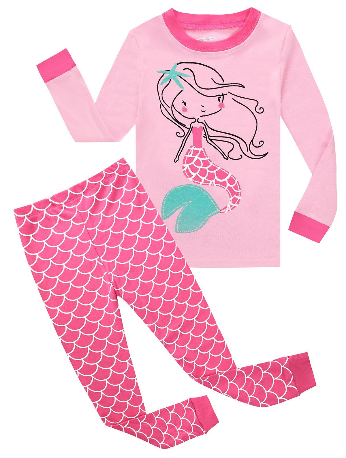 Kids Pajamas Hop Girls Mermaid Pajamas Kids 2 Piece Pants Set Childrens Pjs Long Sleeve (Pink,7T)