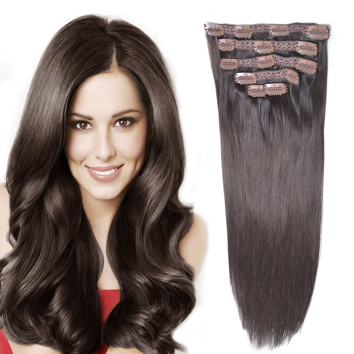 14''Remy Human Hair Clip in Extensions for Women Thick to Ends Dark Brown(#2) 6Pieces 70grams/2.45oz by BHF HAIR
