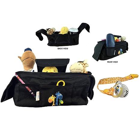 Organizador para cochecito de bebé con clip para colocar el chupete! Dos portavasos de aislamiento térmico, 1 bolsillo grande y 3 bolsillos para ...