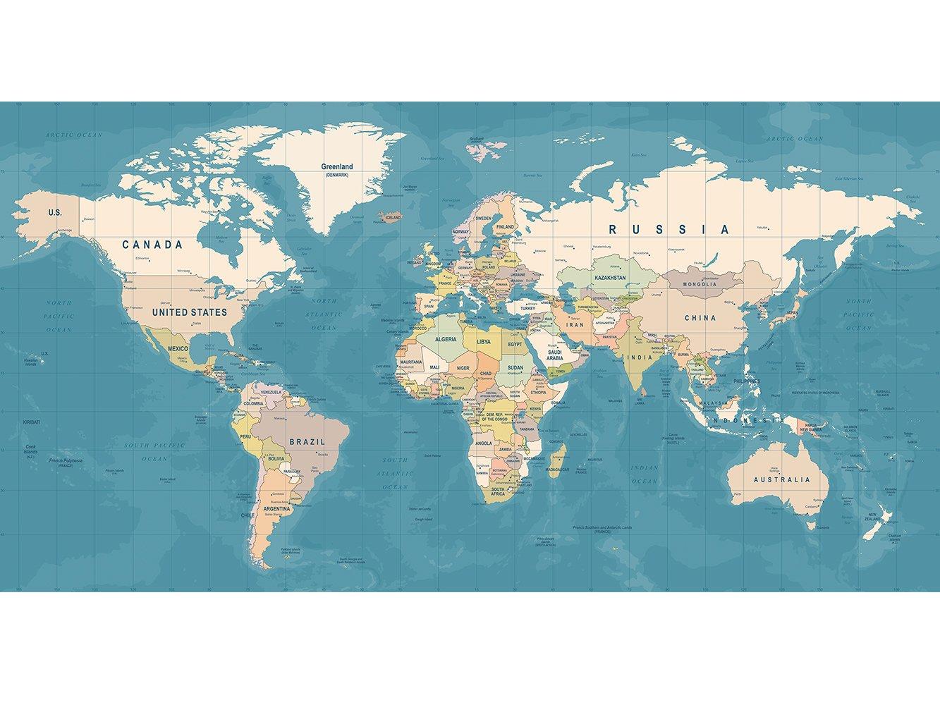 Cuadro Cartón Pluma Pared Mapamundi Fondo Azul | Cuadro para Paredes | Cartón Pluma Decorativo | Varias Medidas 200 x 104 cm | Decoración comedores, ...