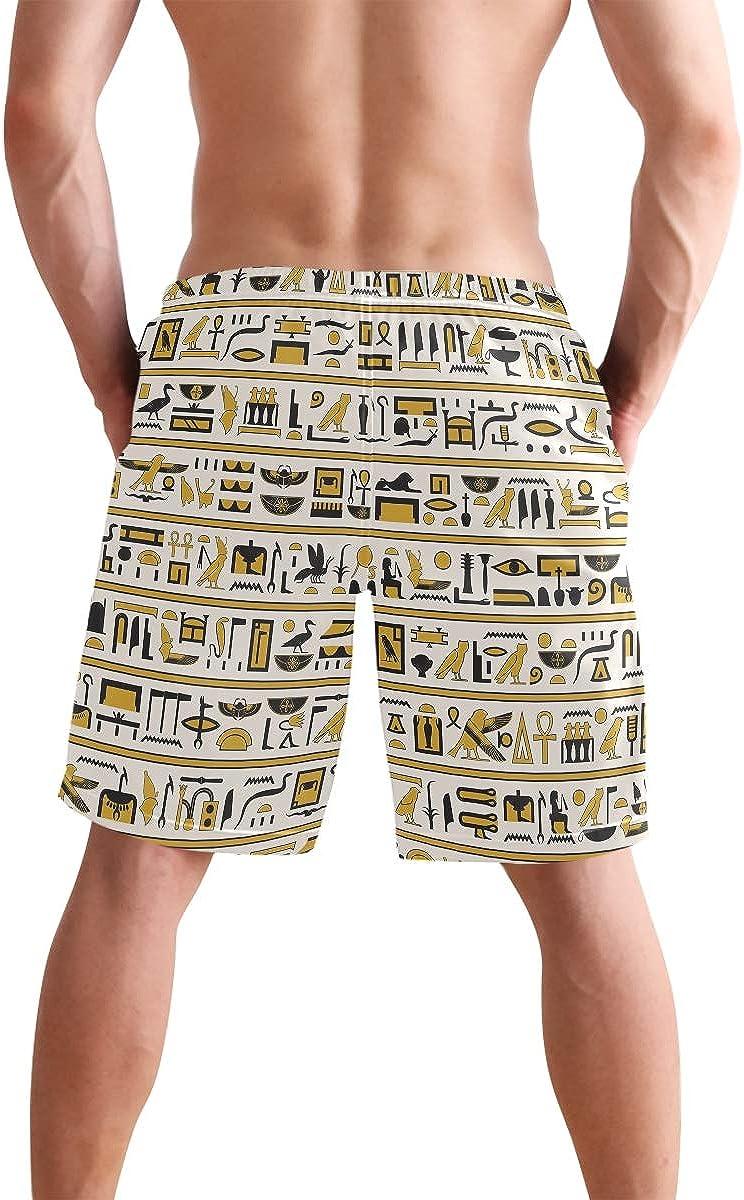 WIHVE Mens Swim Trunks Egyptian Hieroglyphs Quick Dry Beach Board Short with Mesh Lining