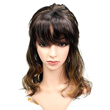 Amazon.com   Wendy Hair Shoulder Length Synthetic Full Hair Wig with Bangs  Ombre Curly Wavy Wig for Women   Beauty e5b178d7e