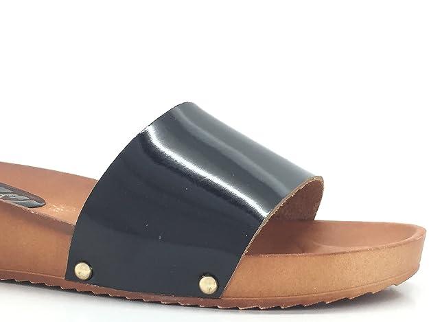 CHIC NANA Scarpa donna moda sandali Mules compensate vernice, Oro (oro), 36