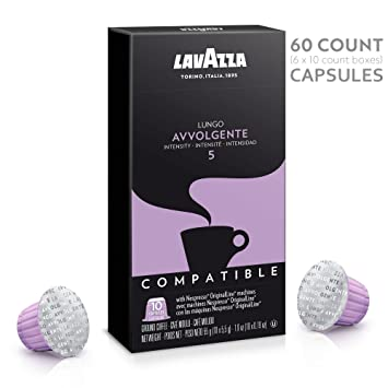 Lavazza Nespresso Compatible Capsules, Avvolgente Lungo Dark Roast Coffee (Pack of 60)