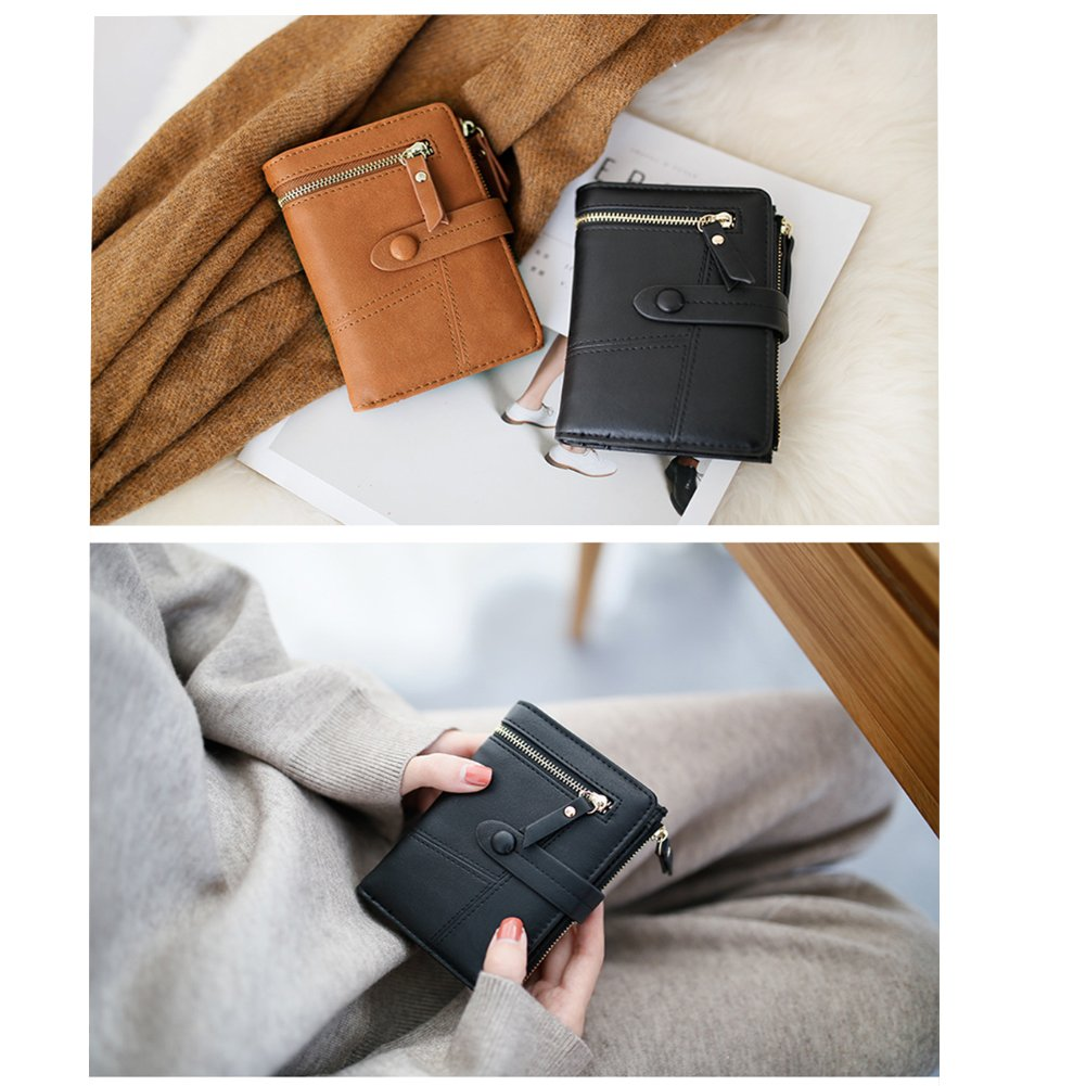 Women Small Wallet RFID Blocking Leather Bifold Card Holder Zipper Coin Purse (Black) by Remidoo (Image #5)