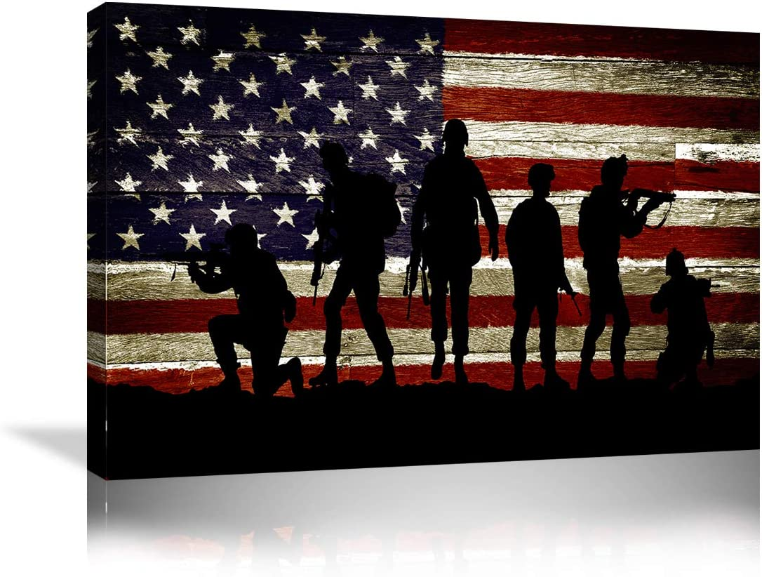Urttiiyy American Flag Military Soldiers Army Wall Art Canvas Prints Thin Blue Red Line Home Decor Pictures for Living Room Bedroom Painting Framed Ready to Hang - 36''x24''