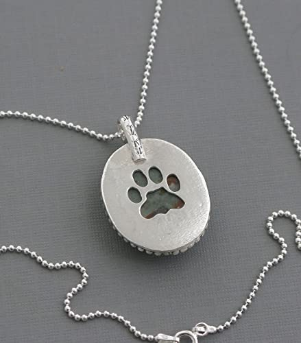 65d7ca29fc7f0 Amazon.com: Two sided agate stone and dog or cat paw print pendant ...