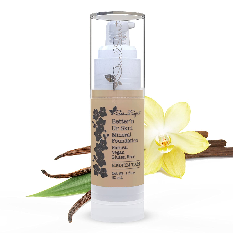 Better'n Ur Skin Organic Liquid Foundation (MEDIUM TAN - Warm, Old Name Sandalwood) | Buildable Coverage | Vegan | Cruelty Free | Sun Protection | Gluten Free | Non GMO | Palm Free | 1 OZ