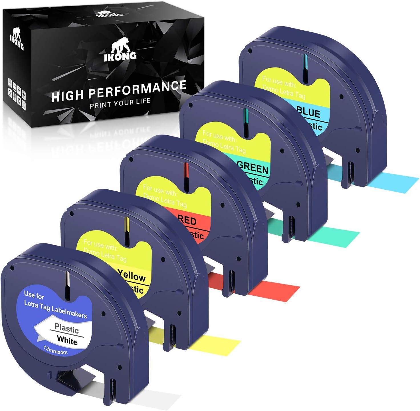 3 Black//Red 91333 for Dymo LetraTag LT-100H Label Maker Tape Refill Plastic 12mm