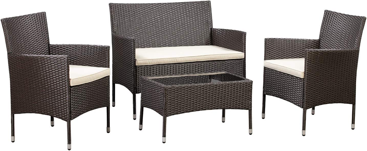 AmazonBasics Outdoor Patio Garden Faux Wicker Rattan Chair Conversation Set with Cushion - 4-Piece Set, Brown