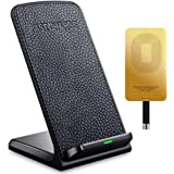 QI Fast Wireless Charger - Leather Cordless CellPhone Rapid Charger,Portable QI Charging Stand Pad for for Apple iPhone 7 plus, 7, 6s Plus, iPhone 6s, iPhone 6 plus, iPhone 6