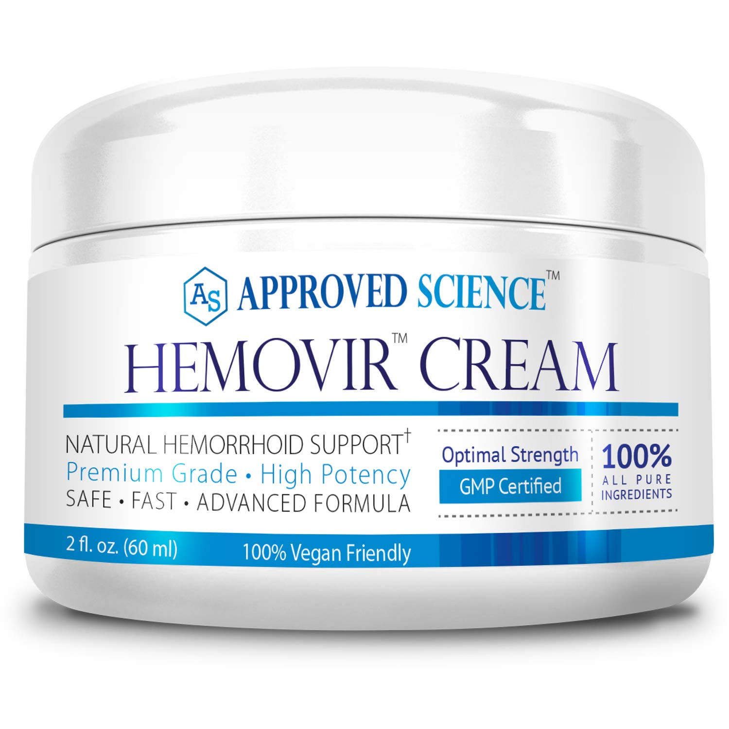 Hemovir - Natural Hemorrhoid Cream - Rapid Healing; Reduce Itching, Irritation, Bleeding & Burning ! 100% Pure! - 60 mL Container of Hemorrhoid Cream - 60 Days Money Back Guarantee by Approved Science