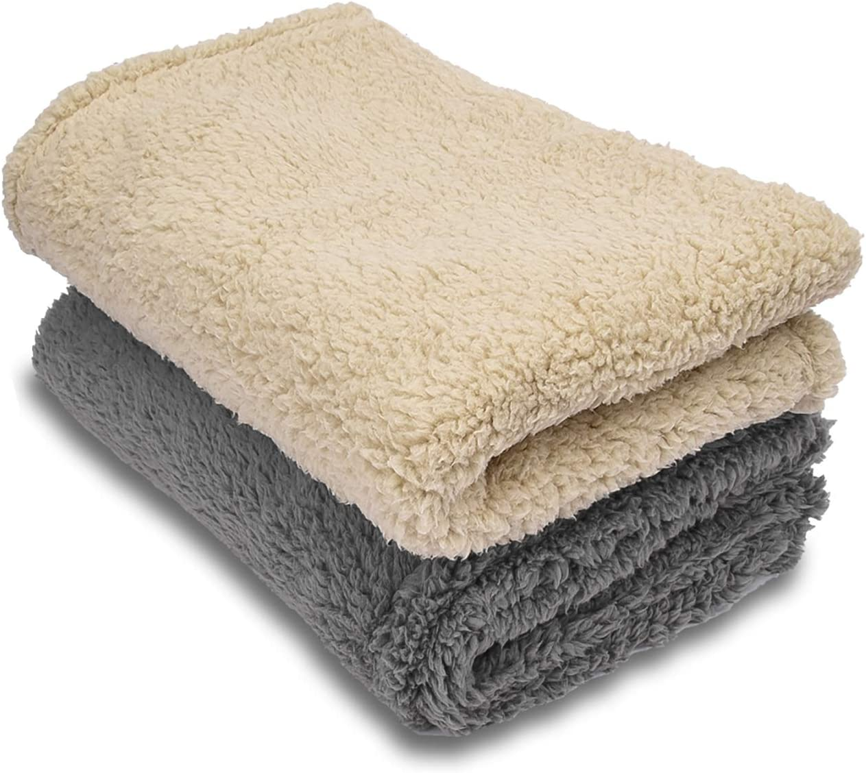 AIPERRO 2 Pack Premium Fluffy Fleece Dog Blanket, Soft and Warm Pet Throw Blankets Bed Couch Car Seat Cover Washable for Puppies and Cats