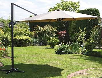 UKGardens 35m Beige Coffee Coloured Cantilever Parasol Umbrella