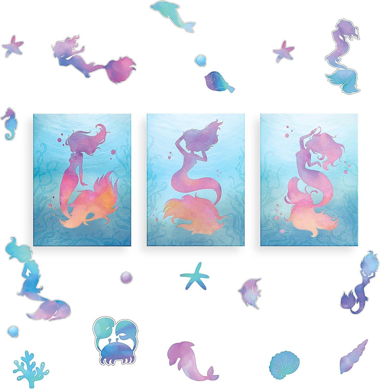 Mermaidhaus - Mermaid Wall Decor – Mermaid Wall Art & Mermaid Wall Decal Set – Mermaid Canvas & Mermaid Wall Stickers - Mermaid Bathroom Decor - Mermaid Decor Set