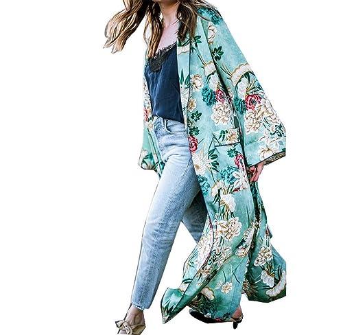 Abrigo de Capa delgada Boho, Largo kimono con Borla floral Mantón de gran tamaño Tops patron de Flor...