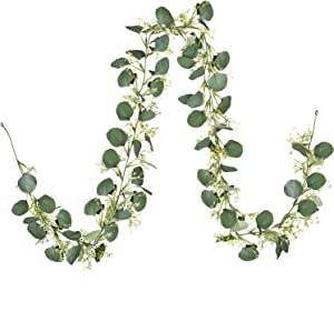 DearHouse Artificial Eucalyptus Garland, 6.7Ft Faux Silk Greenery Garland Eucalyptus Leaves Seeded Garland for Wedding Arch Table Runner Party Backdrop Baby Shower Decoration