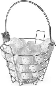 48-pack of Plastic Golf Balls & Golf Range Basket Bundle – Bulk Set of Polyurethane Balls + Steel Wire Carrying Bucket (Holds Up to 50 Balls) for Swing Practice, Driving Range & Home Golf Accessories