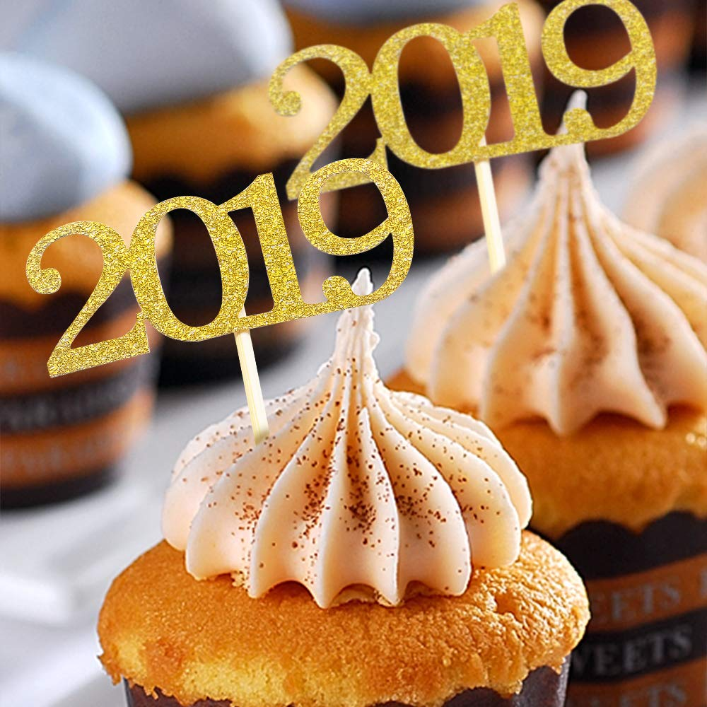 YOZATIA 2019 Cupcake Toppers, 50PC Gold Food Picks for New Year Graduation Party Decorations - Assembled Finished: Amazon.com: Grocery & Gourmet Food