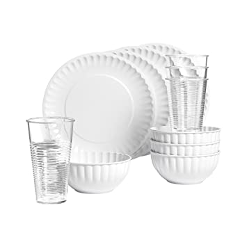 Tabletops Unlimited 12-pc. Melamine Dinnerware Set  sc 1 st  Amazon.com & Amazon.com: Tabletops Unlimited 12-pc. Melamine Dinnerware Set: Home ...