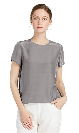 37fe9f11ae2002 LilySilk Seide Damen Hemdbluse Kurzarm Bluse Hemd Tunika 22 Momme (XS,  Grau) Verpackung